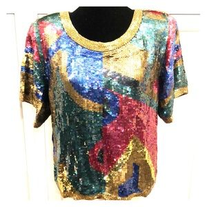 Vintage sequin 80's party top Christmas New Years